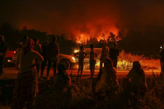 جهود كبيرة ومتواصلة للسيطرة على حريق في غابة بولاية إزمير التركية