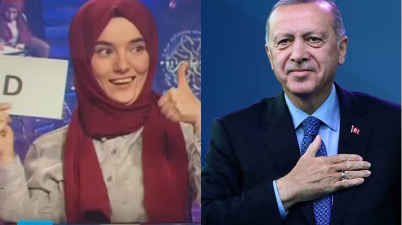 """أردوغان يهاتف فتاة بكماء فازت بـ""""من سيربح المليون"""" (شاهد)"""