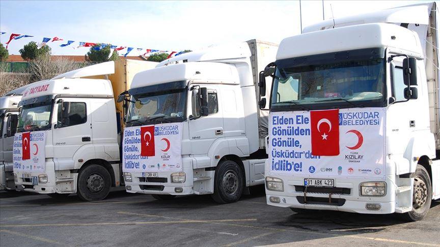 بلدية تركية ترسل 61 شاحنة مساعدات إنسانية إلى إدلب